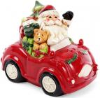 """Банка для новорічних солодощів """"Санта в автомобілі"""" 4.6л керамічна"""