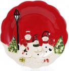 """Набор 2 керамических блюда """"Трио снеговиков"""" Ø29см"""