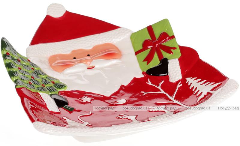 """Блюдо сервіровочне """"Санта з подарунками"""" 33х27см керамічне"""