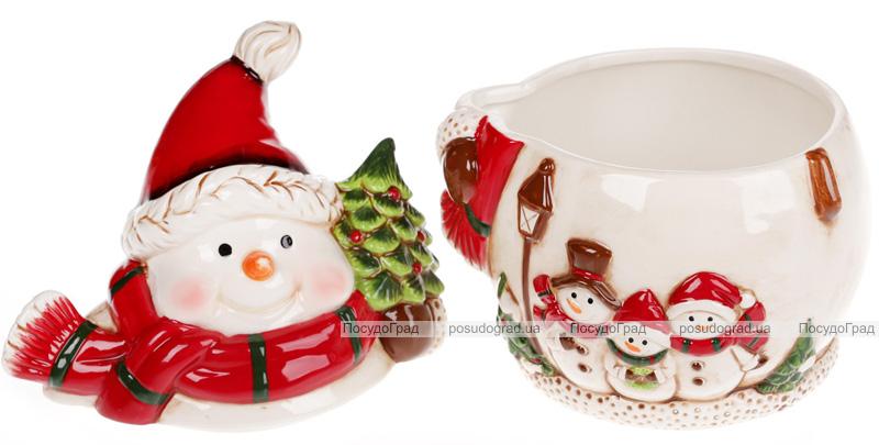 """Банка для новорічних солодощів """"Тріо сніговиків"""" 1л керамічна"""