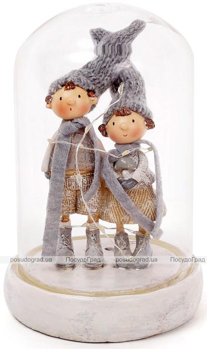 """Новорічна декоративна композиція """"Хлопчик і дівчинка під ковпаком"""" з LED-підсвіткою 12х12х18см"""