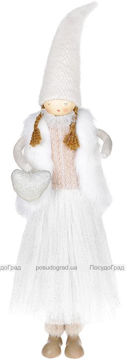 Фигура декоративная «Девочка с сердцем» 19х10х64см, белый с розовым