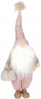 Фигура декоративная «Санта в меховой жилетке» 21х16х50см, розовый
