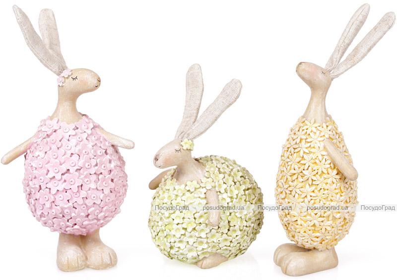 """Фигурка декоративная """"Кролик в цветах"""" 24см, розовый"""