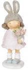 Статуетка декоративна «Дівчинка в шапці-зайчику» 8х7.5х20см, рожевий з бежевим