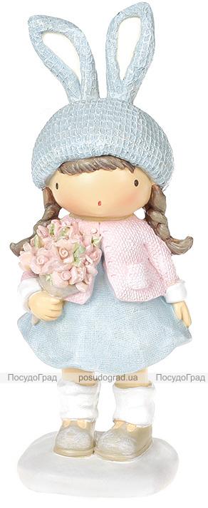 Статуетка декоративна «Дівчинка в шапці-зайчику» 7.8х7.4х20.7см, блакитний з рожевим