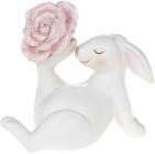 """Статуетка декоративна """"Кролик з рожевою Квіткою"""" 7.3х14х12.5см"""