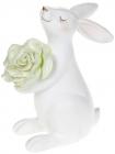 """Статуетка декоративна """"Кролик з зеленою Квіткою"""" 7х12х14.5см"""