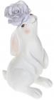 """Статуетка декоративна """"Кролик з сірою Квіткою"""" 9.5х12.7х21.5см"""