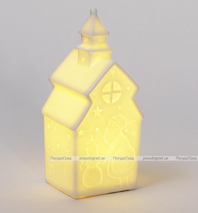 """Декоративная керамическая статуэтка """"Домик"""" 14см с LED-подсветкой"""