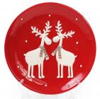 """Набор 2 обеденные керамические тарелки """"Олени на красном"""" Ø22см"""