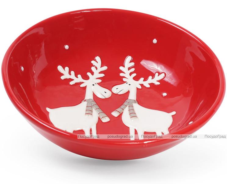 """Набор 2 суповые керамические тарелки """"Олени на красном"""" Ø21см"""