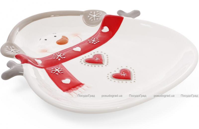 """Набор 2 обеденные керамические тарелки """"Снеговик"""" 26см"""