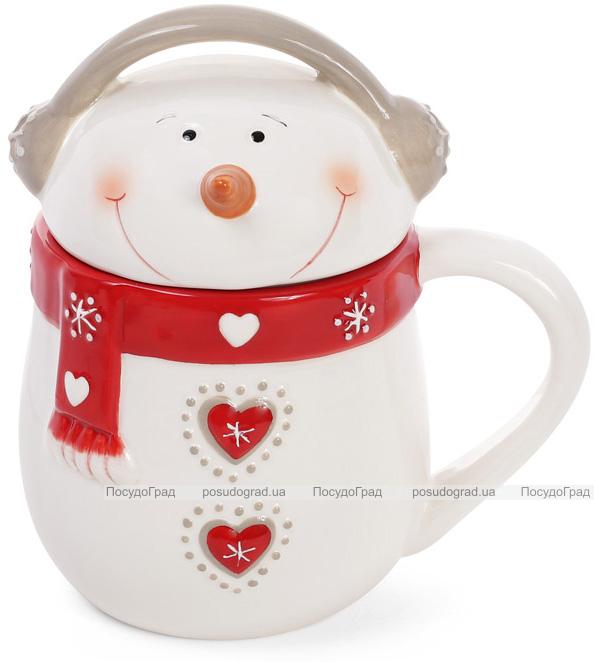 """Кружка керамическая """"Снеговик в красном"""" 400мл с керамической крышкой"""