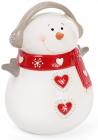 Новогодняя статуэтка-копилка Снеговик в красном шарфе 17см