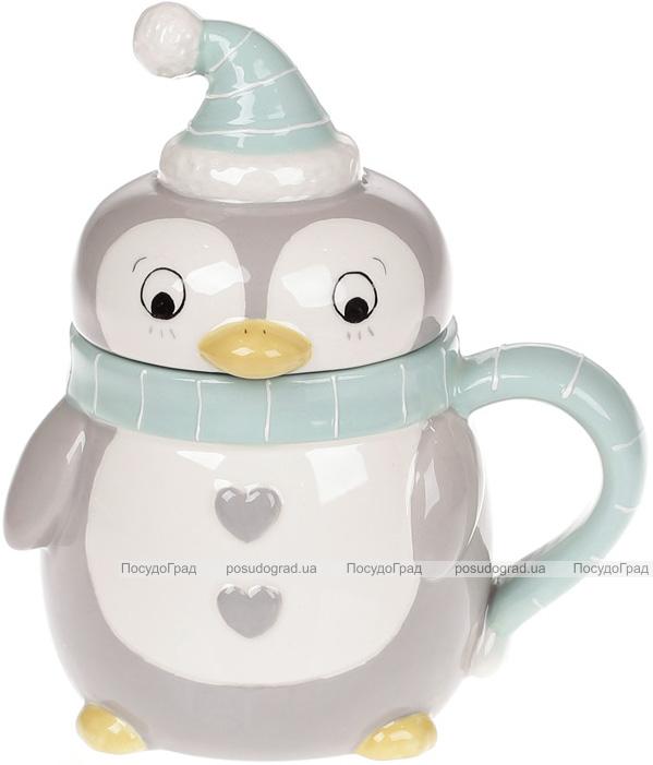 """Кружка керамическая """"Пингвин в голубом"""" 370мл с керамической крышкой"""