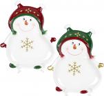 Набір 2 керамічних блюда «Запальний сніговик» 27.5х22.5см