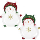 Набор 2 керамических блюда «Озорной снеговик» 21.5х17.5см
