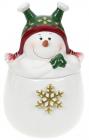 Банка керамічна «Запальний сніговик» 550мл, в зеленій шапочці