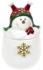 Банка керамічна «Запальний сніговик» 550мл, в червоній шапочці