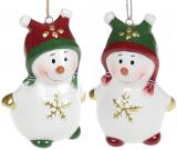 Подвесная фигурка «Озорной снеговик» 4.5х3.8х6.5см, керамика
