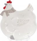 Тарелка керамическая Курочка 27.5х25х3.7см, белая