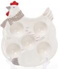 """Тарілка для яєць """"Курочка"""" (5 секцій) 24.3х20.1х3.8см, біла"""