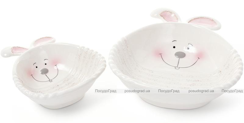 """Керамічна супова тарілка """"Зайчики"""" 425мл Ø19см"""