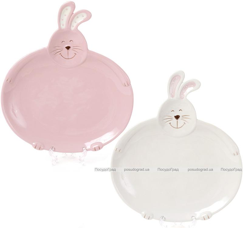 """Набор 2 обеденные тарелки """"Зайчики"""" Ø24см белая и розовая"""