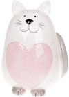 """Скарбничка керамічна """"Котик з рожевим серцем"""" 20.3см"""