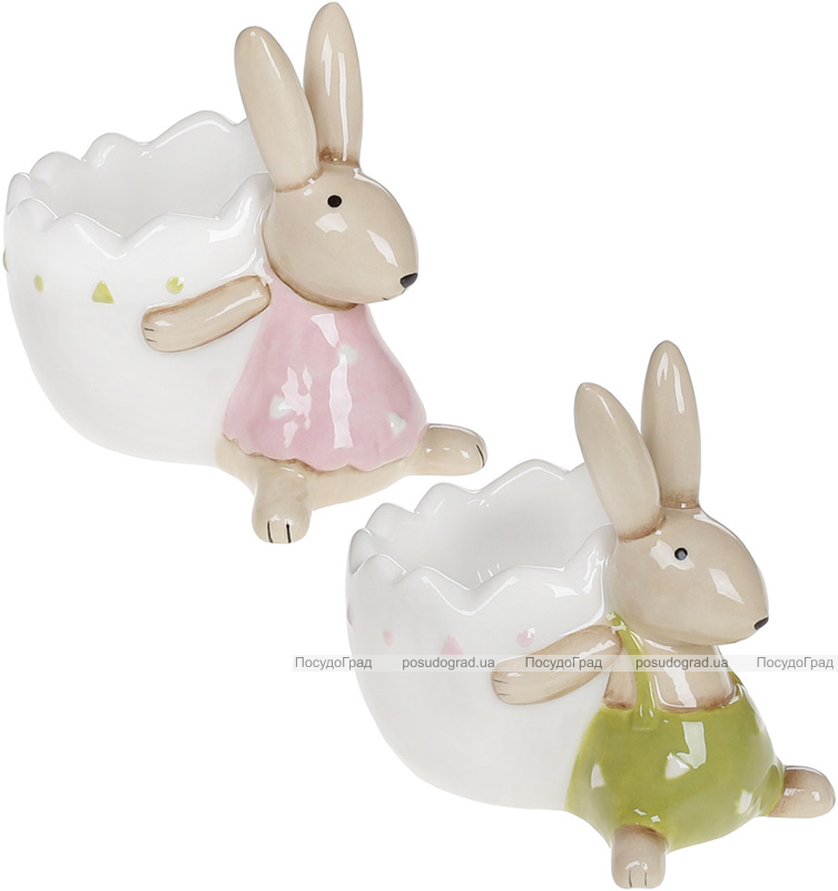 """Підставка для яйця """"Милі Зайки"""" 8.2х5.8х7.5см керамічна"""