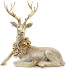 """Фігура для новорічного декору """"Золотий олень з вінком"""" 74.8х38.3х71.9см"""