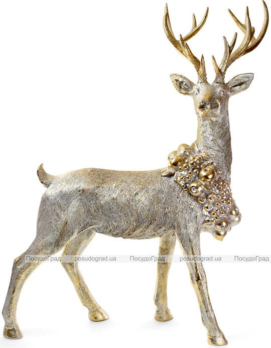 """Фігура для новорічного декору """"Золотий олень з вінком"""" 80.7х37.7х101.8см"""