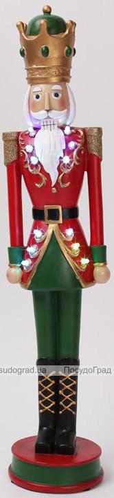 """Статуетка декоративна """"Лускунчик в червоному піджаку"""" з LED-підсвіткою 12.5х11.8х55.5см"""
