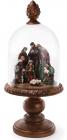 """Різдвяна прикраса """"Вертеп"""" 56см з LED-підсвіткою і скляним ковпаком"""