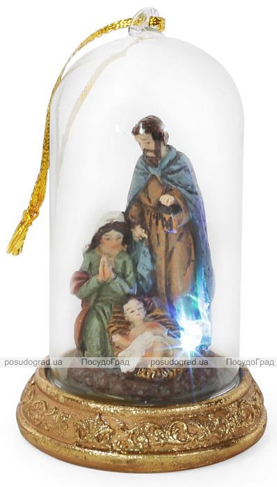 """Рождественское украшение """"Вертеп"""" 12см с LED-подсветкой и стеклянным колпаком"""