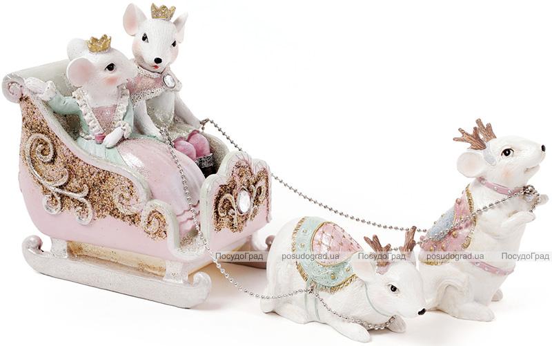 """Декоративна композиція """"Королівські мишки на санях"""" 30.2х9х15.2см"""