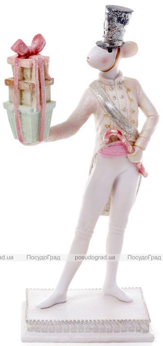 """Декоративна статуетка """"Мишка-кавалер з подарунками"""" 15.3х13х31.5см"""