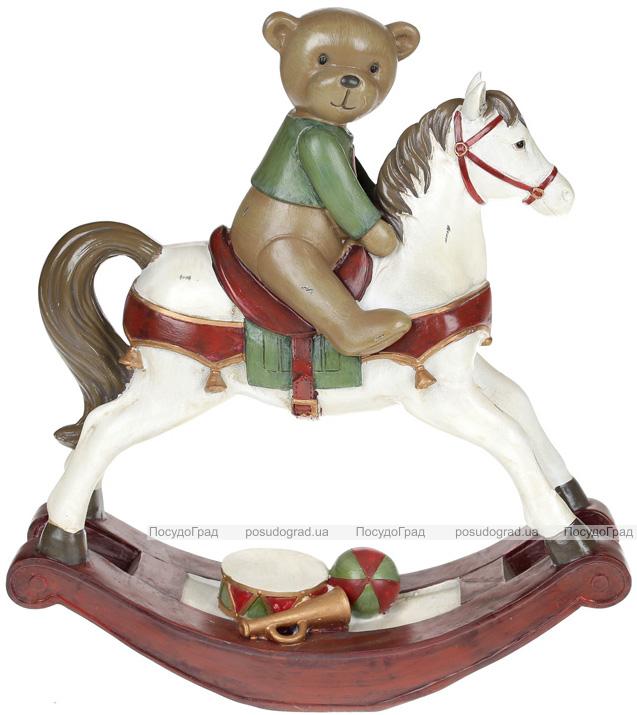 """Статуэтка декоративная """"Мишка на лошадке-качалке"""" 32.5х11х35.5см"""