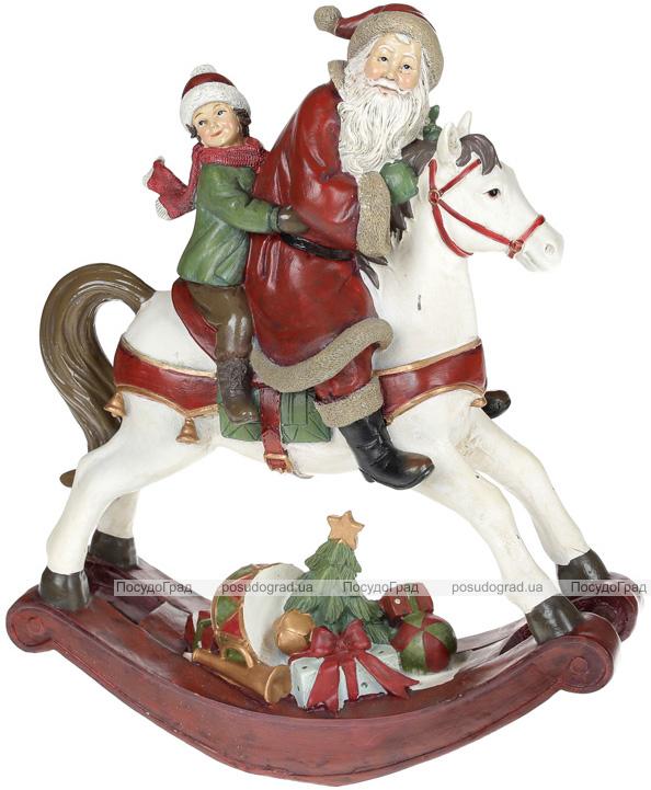 """Статуэтка декоративная """"Санта на лошадке-качалке"""" 32.3х13.8х38см"""