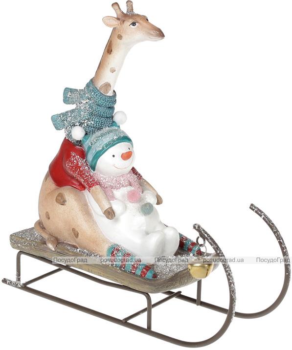 """Статуетка декоративна """"Жираф на санках"""" 22.4х7.8х22.3см"""
