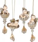 """Набір 4 фігурки-підвіски """"Лісова Фея у квітці"""", шампань з золотом"""