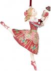 """Декоративна статуетка-підвіска """"Балерина"""" бордо з бірюзою 12см"""