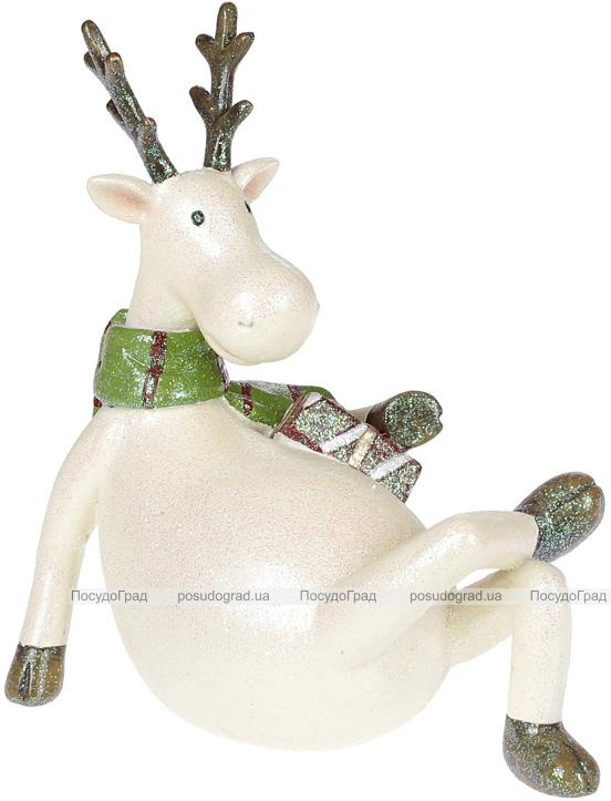 """Декоративна статуетка """"Лось в зеленому шарфику"""" 15.5х9.8х17.7см"""
