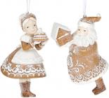 "Набор 2 подвески ""Санта Клаус и Миссис Клаус"", полистоун"