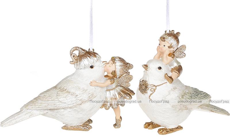 """Набір 2 підвісних фігурки """"Пташки з феями"""", полістоун"""