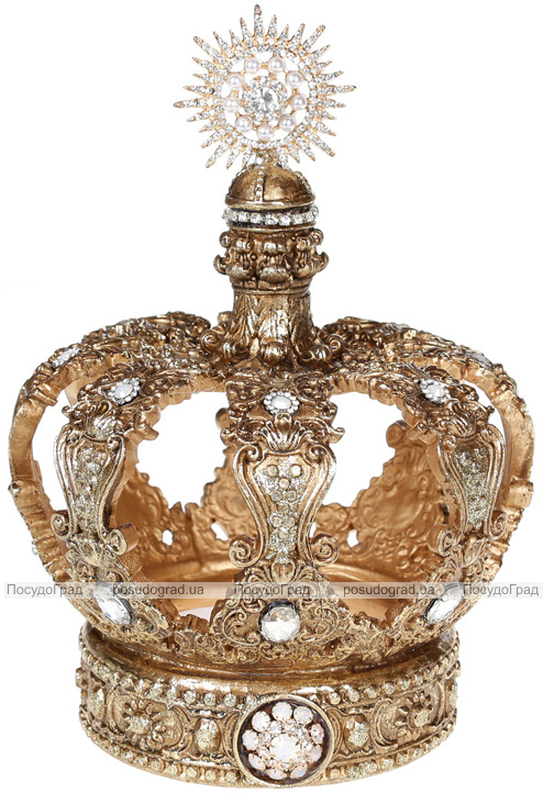 """Декор """"Золота Корона"""" 14.7х14.7х21.1см полістоун, з кристалами"""