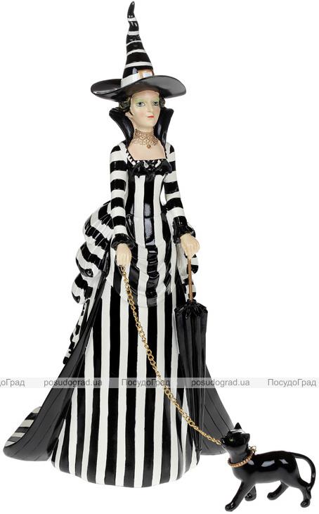 """Фігура декоративна """"Чарівниця з Кішкою"""" 25.6х24.3х46.7см, чорно-білий"""