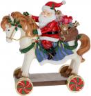 """Декоративна статуетка """"Санта на Конячці"""" 40см, полистоун, червоний"""