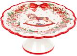 """Підставка для торта """"Різдво"""" 21.6см, кераміка, червоно-біла"""